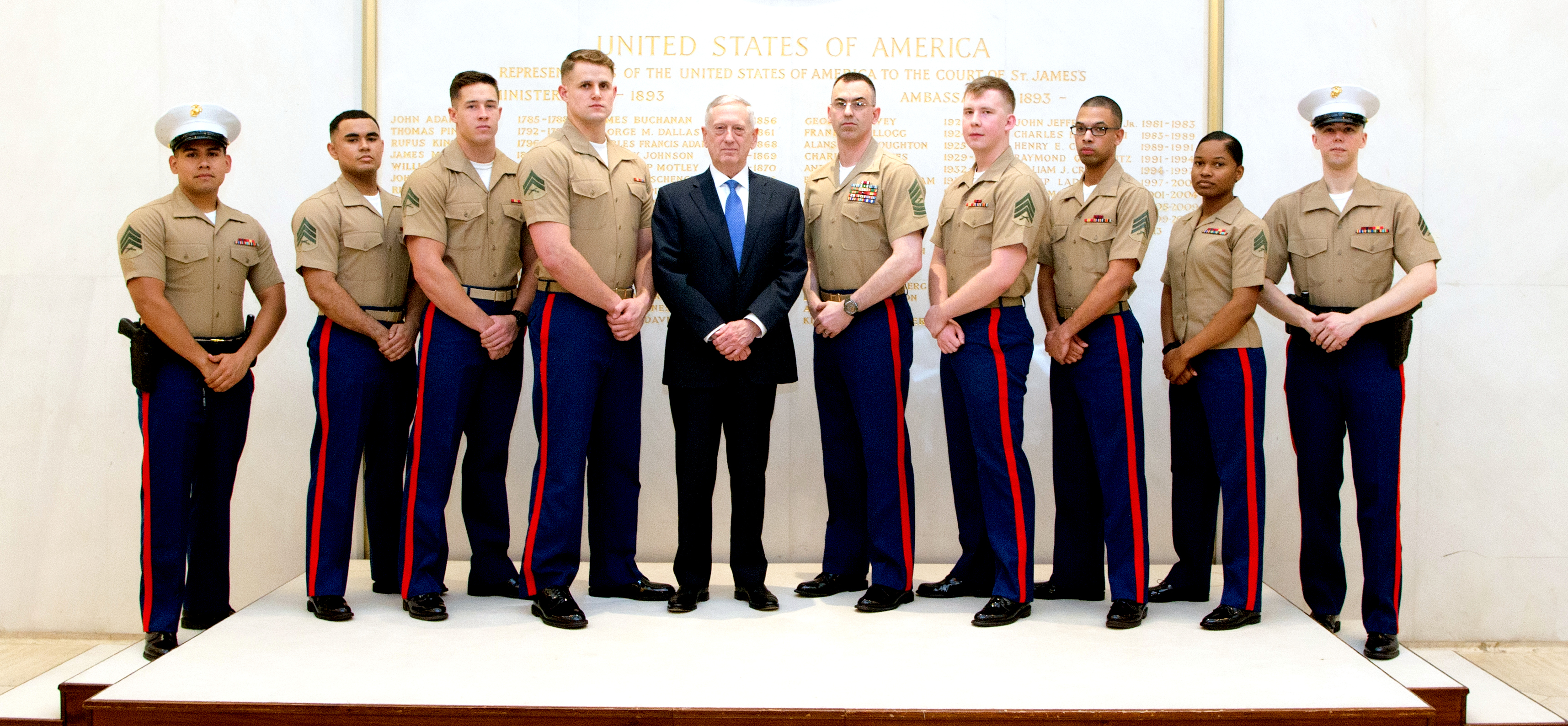 Exclusive photo for CorpsStories: SecDef Mattis with London MSGs 2017